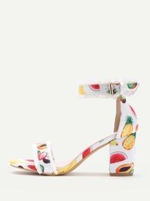 Fringe Trim Fruit Print Heeled Sandals