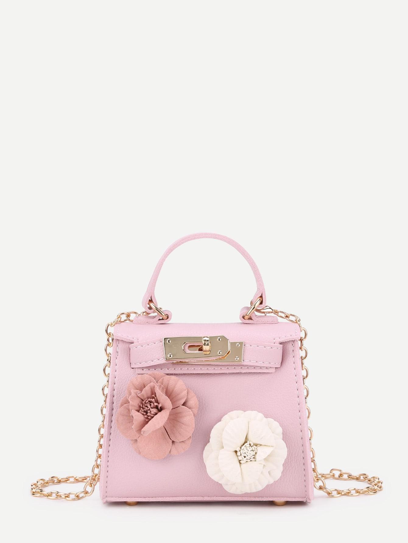 Applique Flower Mini PU Shoulder Bag