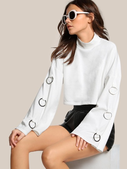 O Ring Drop Sleeve Crop Top OFF WHITE