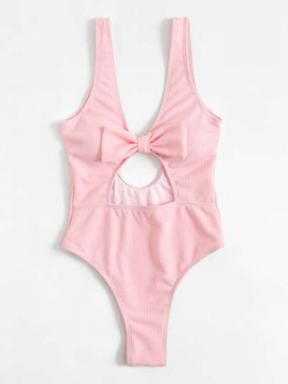 Bow Decor Low Back Ribbed Swimsuit
