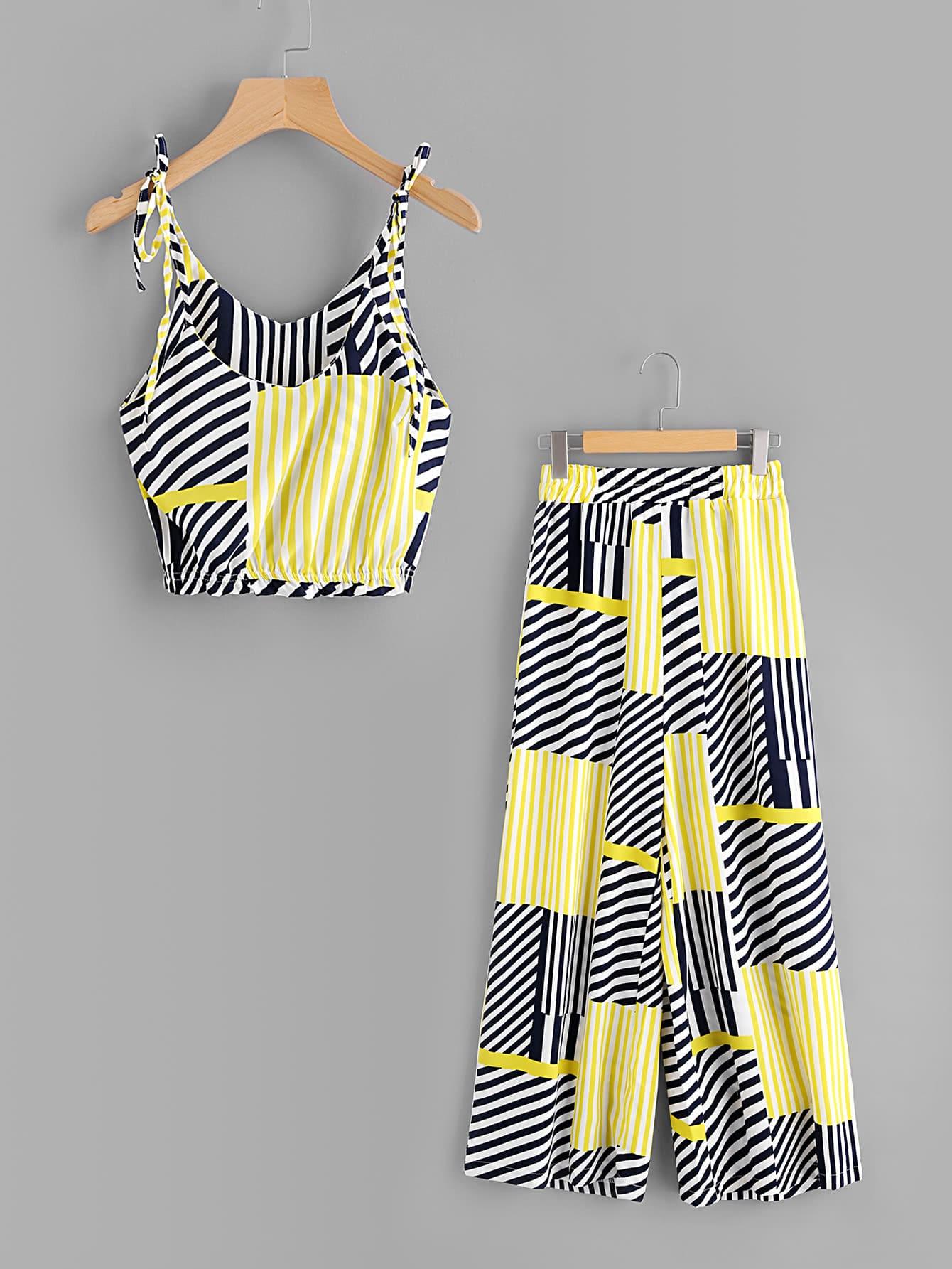 Random Striped Tie-Strap Crop Top With Wide Leg Pants