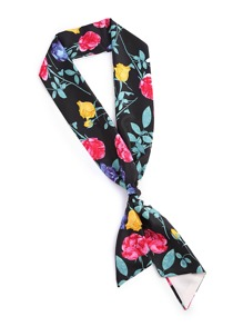 Rose & Butterfly Print Skinny Scarf