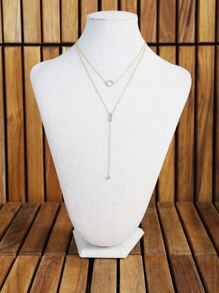 O Ring Dainty Lariat Necklace GOLD