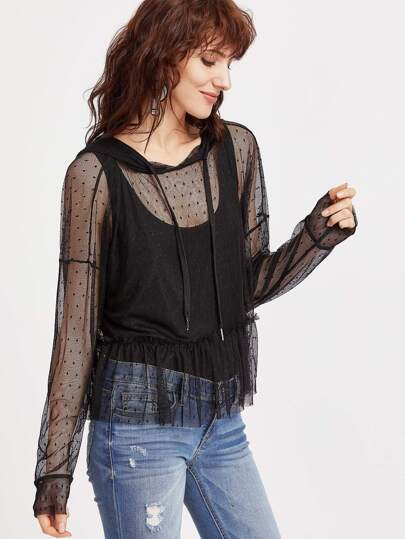 Black Ruffle Hem Dotted Mesh Hoodie With Tank Top