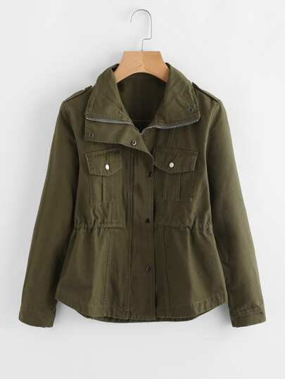 Drawstring Waist Epaulet Military Jacket