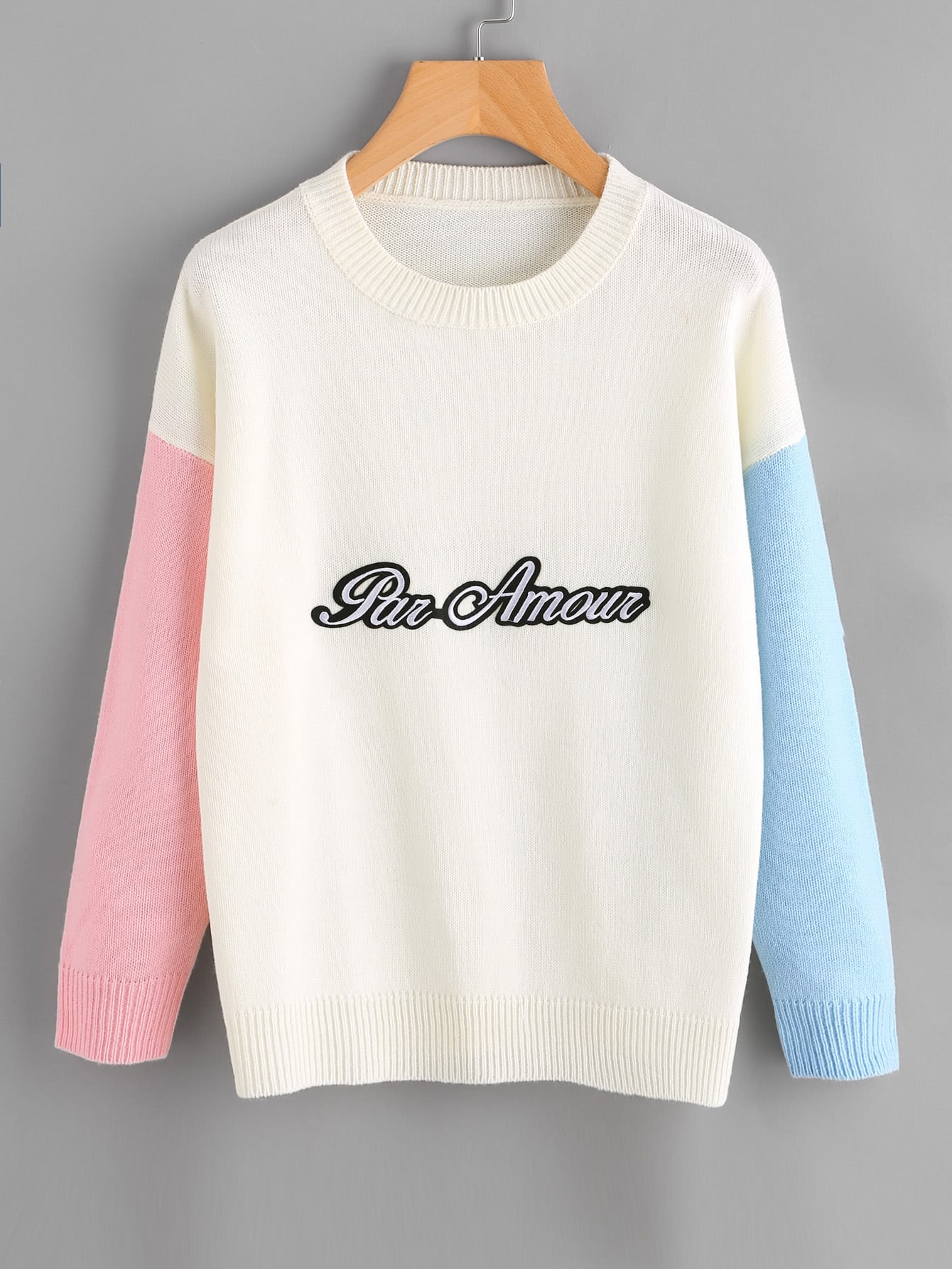 Letter Patch Contrast Sleeve Jumper sweater170818450