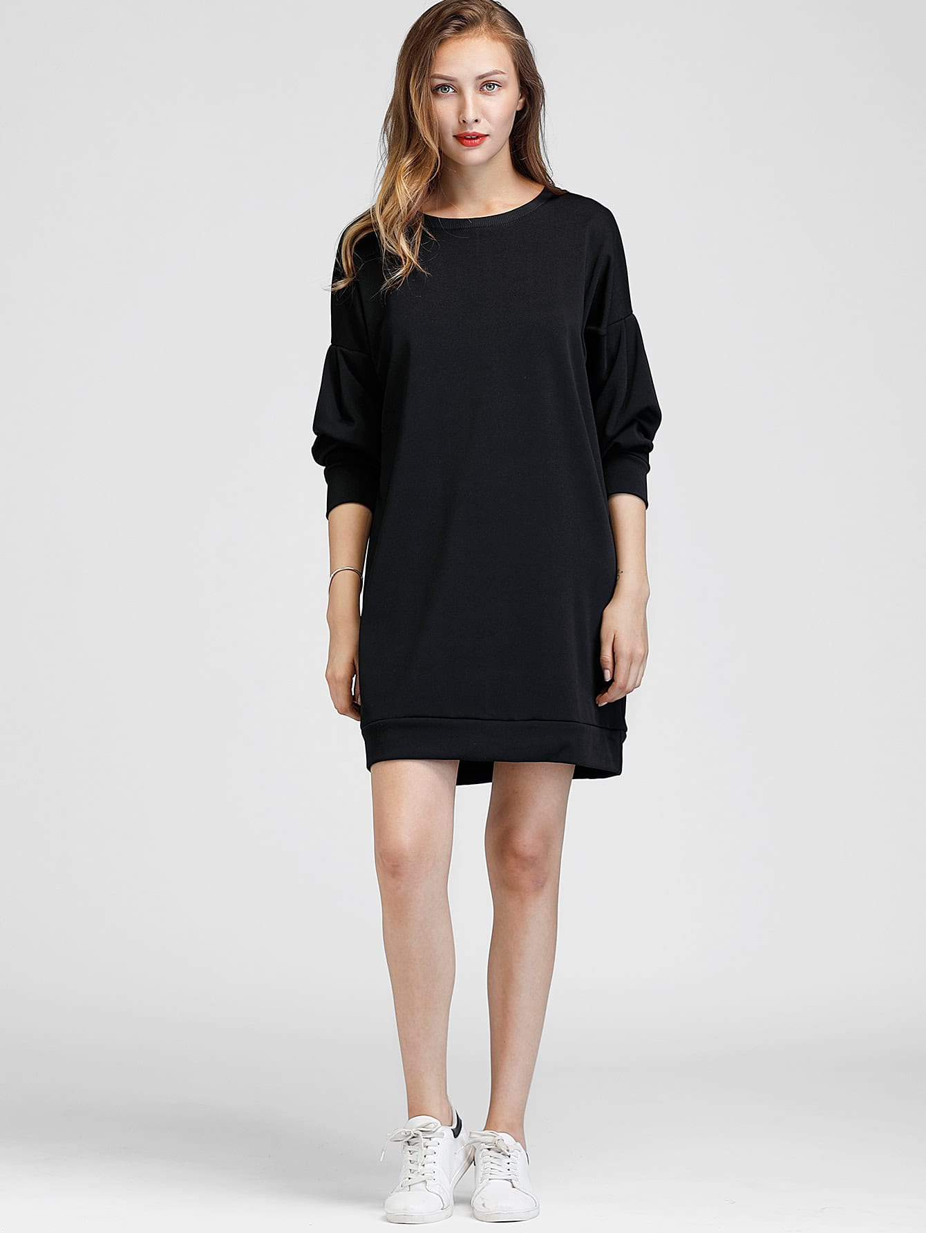 Drop Shoulder Sweatshirt Dress long drop shoulder sweatshirt dress with tassel