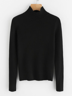 Solid Ribbed Knit Roll Neck Jumper