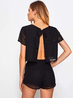 Split Tie Back Jacquard Top And Shorts Co-Ord