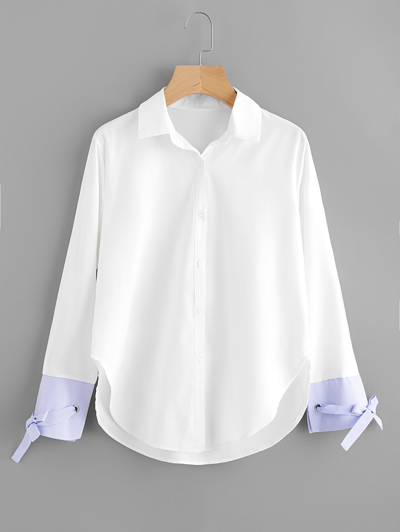 Contrast Striped Cuff Tie Detail Curved Hem Shirt bow tie cuff contrast patch pocket detail shirt