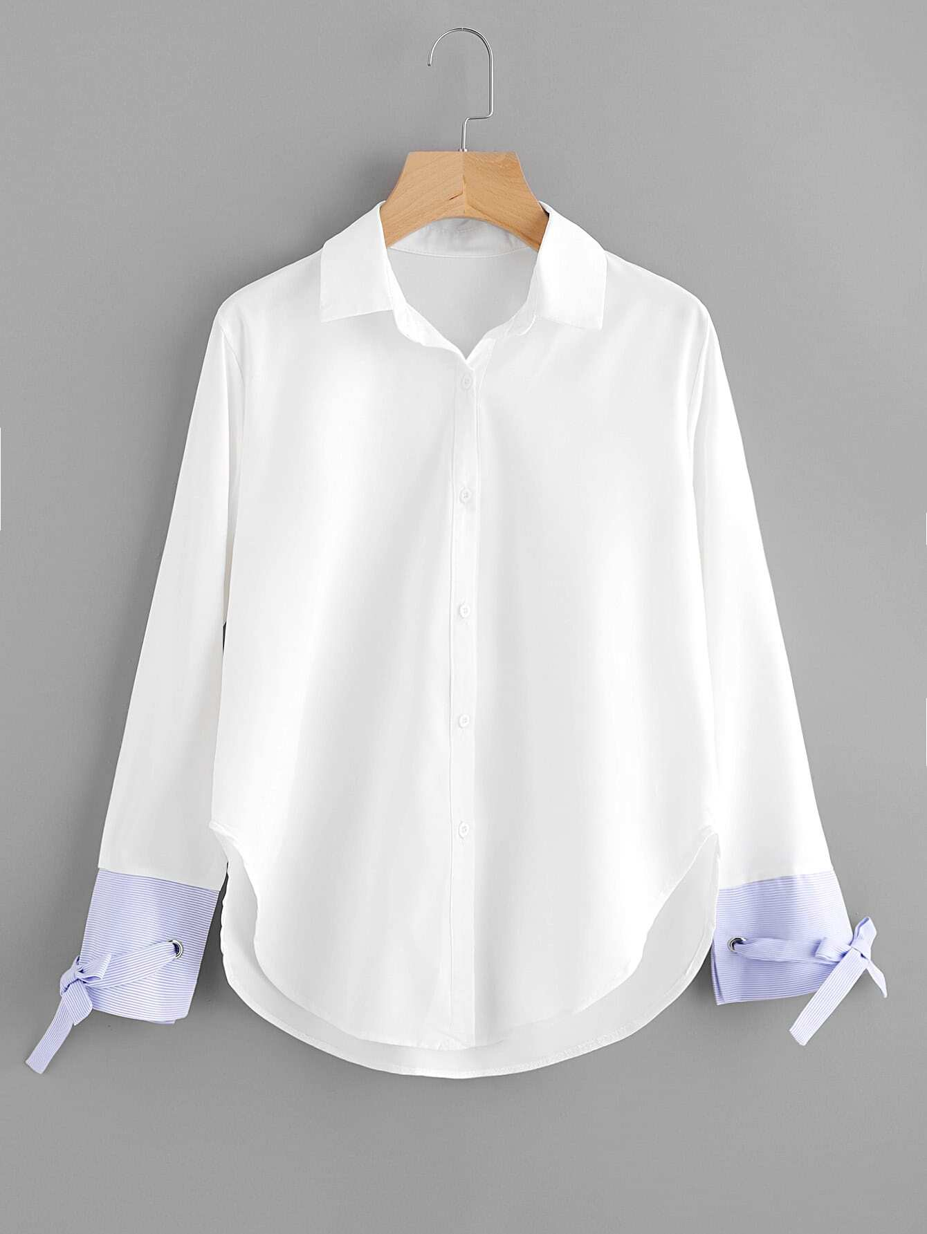Contrast Striped Cuff Tie Detail Curved Hem Shirt curved hem striped shirt dress