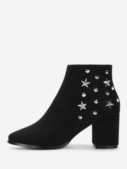 Star & Studded Decorated Ankle Boots