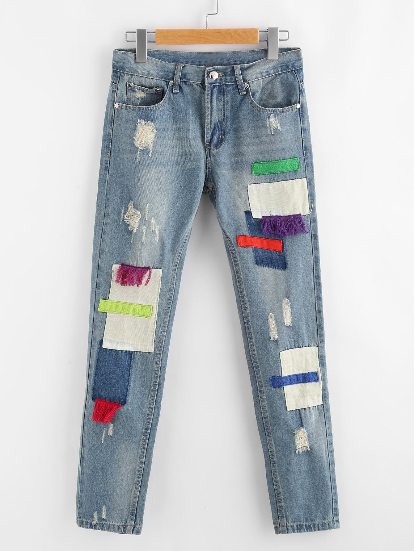 Ripped Patched Distressed Jeans patched embroidered jeans
