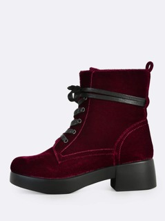 Velvet Lace Up Ankle Boots BURGUNDY
