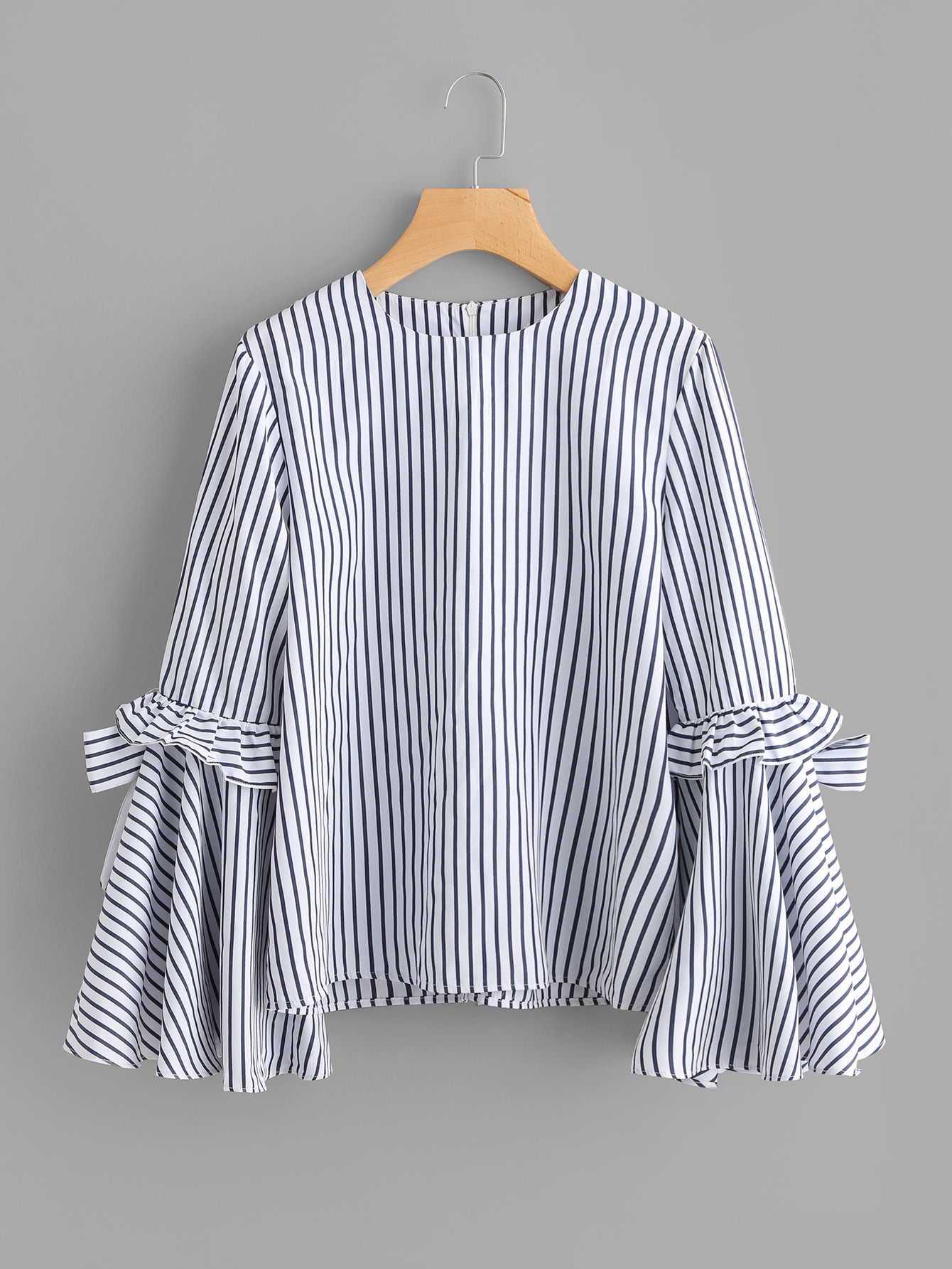 Bow Tie Frilled Exaggerate Sleeve Pinstripe Top exaggerate bow tie neck ruffle trim top