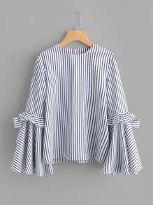 Bow Tie Frilled Exaggerate Sleeve Pinstripe Top