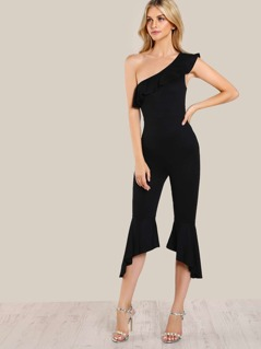 Single Shoulder Flounce Jumpsuit BLACK
