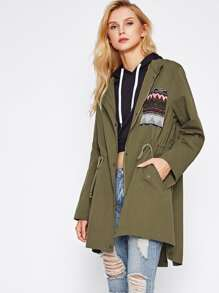 Tribal Jacquard Patch Drawstring Waist Utility Jacket
