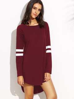 Varsity Striped Dip Hem Tee Dress