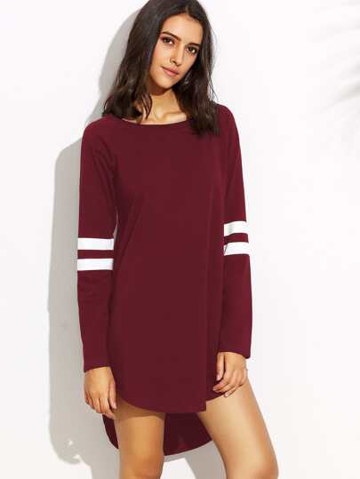 Varsity Striped Dip Hem Tee Dress