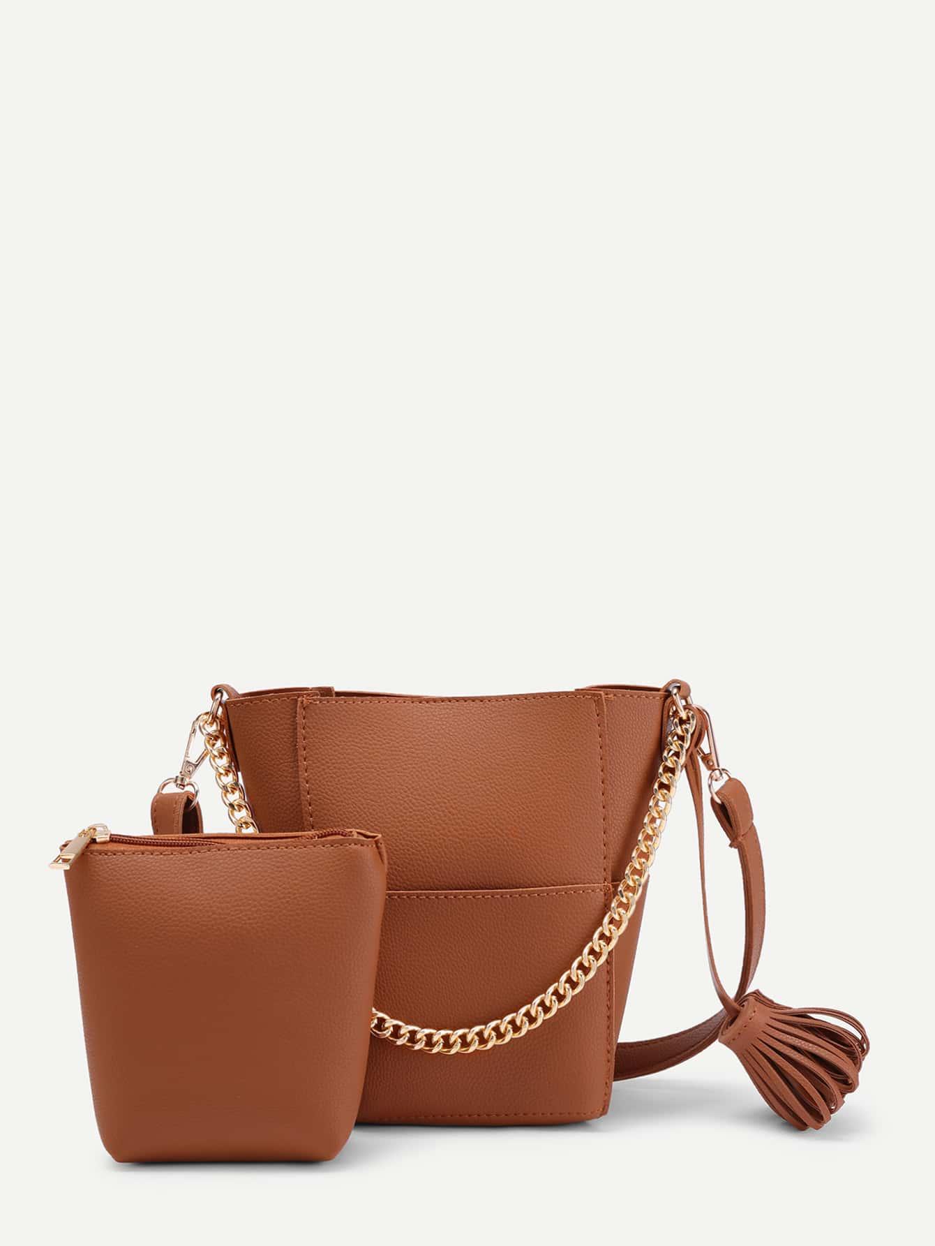 Buy Tassel Detail PU Shoulder Bag Clutch