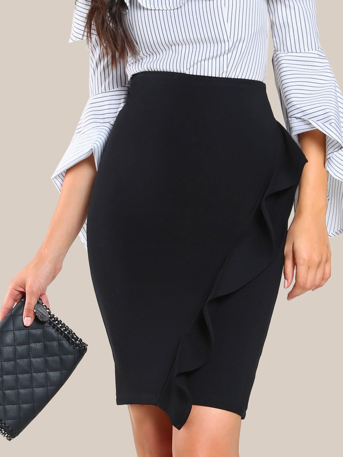 Купить Модная юбка с оборкой, Christen Harper, SheIn
