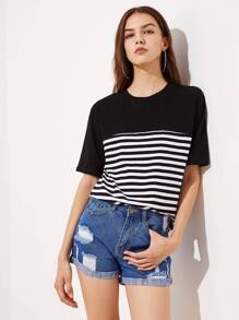 Cut And Sew Striped Tee