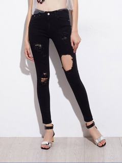 5 Pocket Shredded Jeans