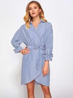 Belted Cuff And Waist Wrap Shirt Dress