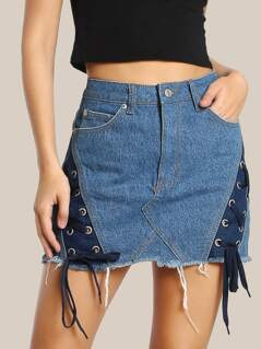 Two Tone Lace Up Skirt DENIM