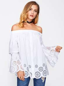 Fluted Sleeve Scalloped Laser Cut Bardot Top