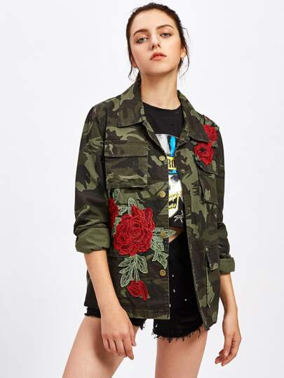Embroidered Appliques Camo Military Jacket