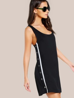 Snap Button Jogger Dress BLACK