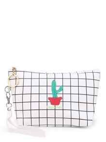Cactus Embroidery Grid Pouch Bag With Wristlet