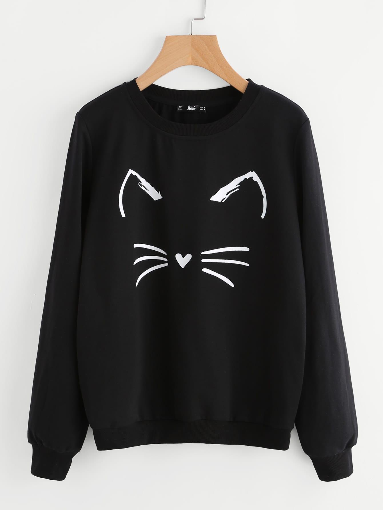 Cartoon Cat Print Sweatshirt