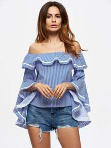 Flounce Layered Neckline Trumpet Sleeve Striped Top