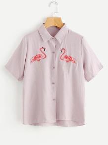 Symmetric Flamingo Embroidery Shirt
