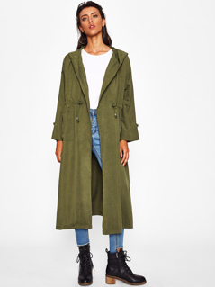 Shawl Collar Drawstring Longline Coat