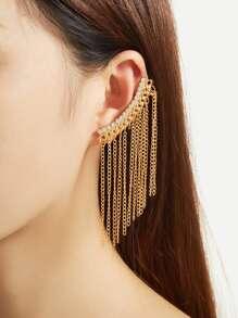 Rhinestone Chain Tassel Ear Cuff 1pcs