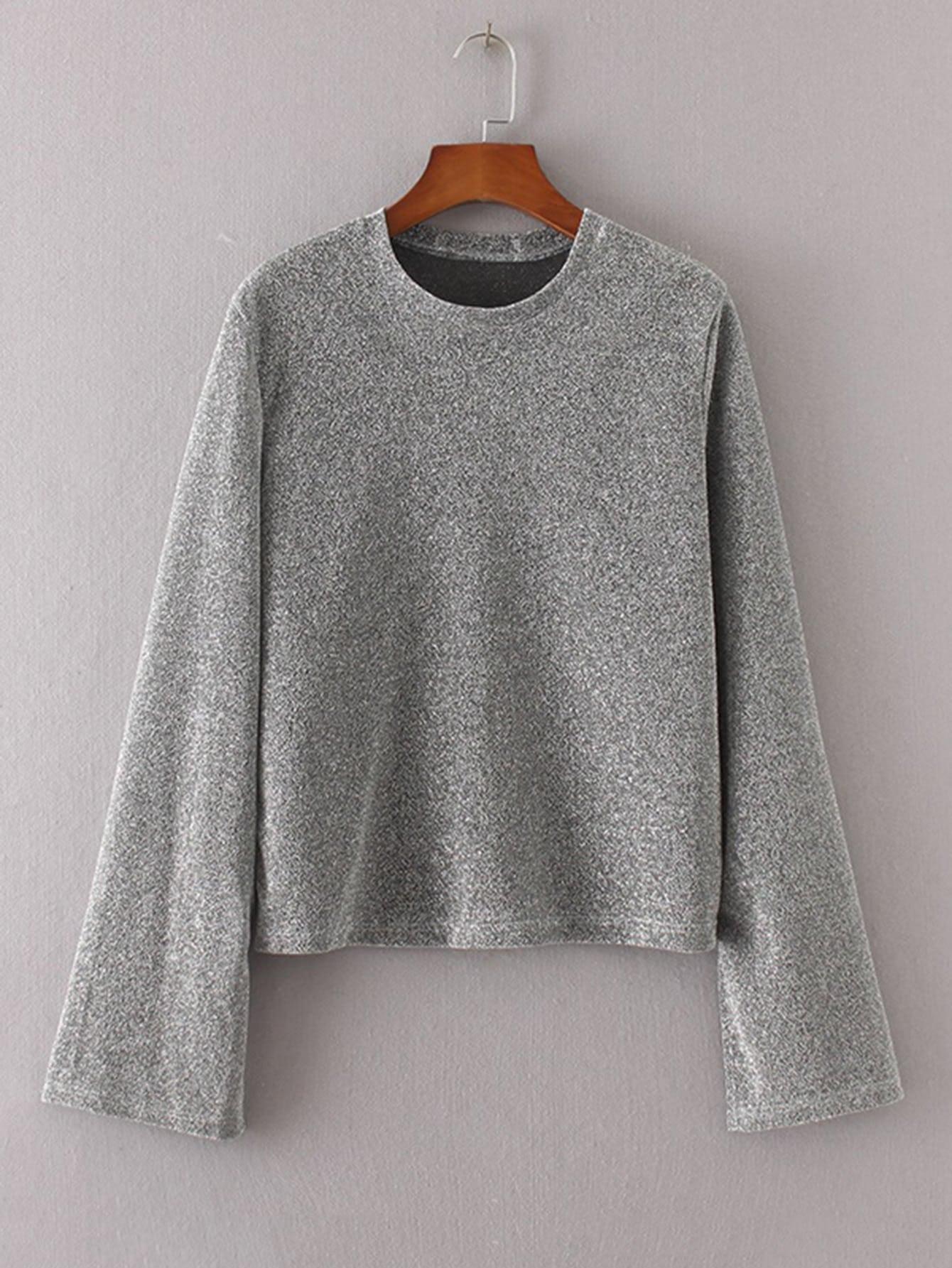 Marled Knit Side Slit Knitwear side slit marled long hoodie