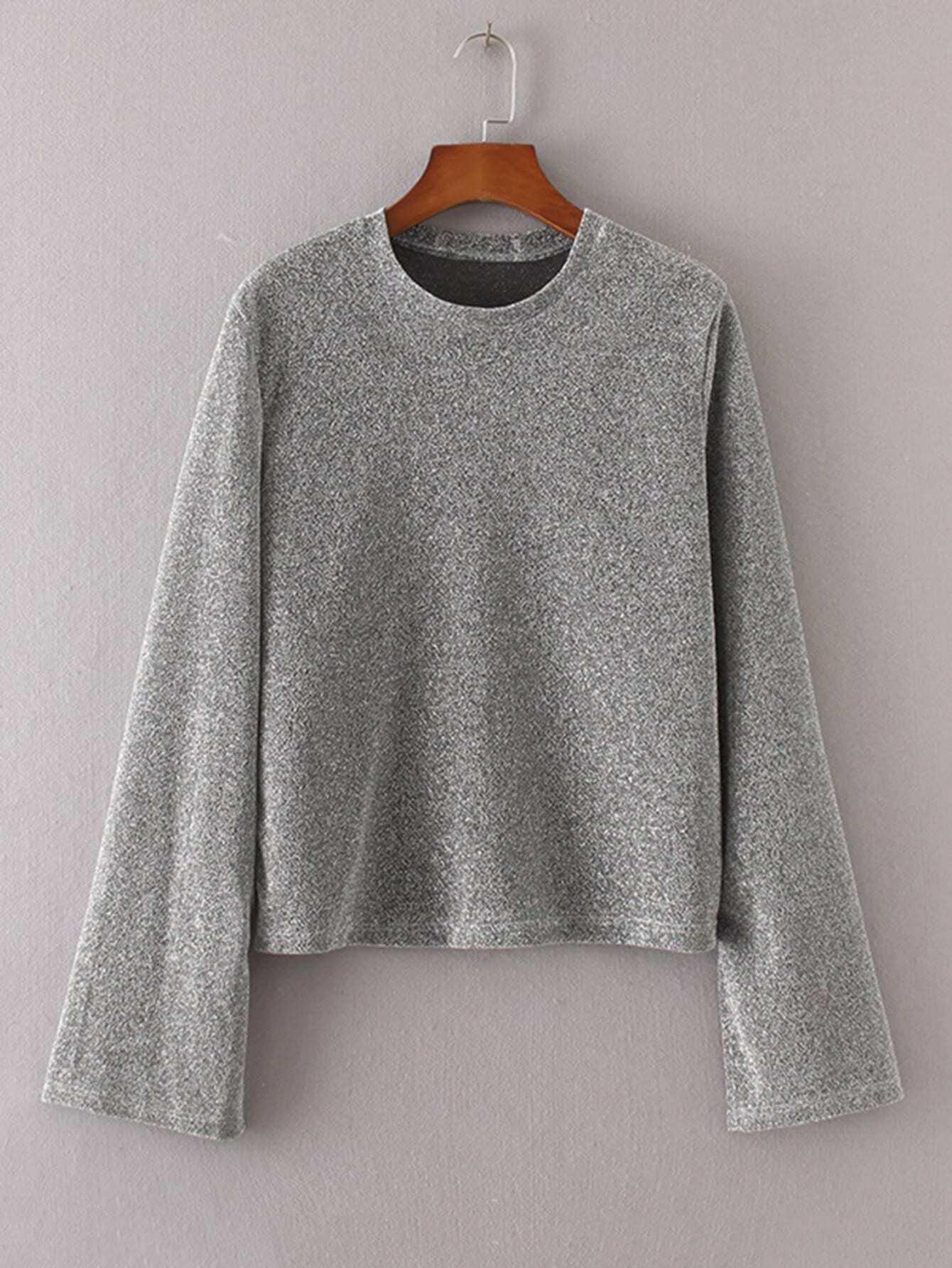 Marled Knit Side Slit Knitwear RKNI170816204