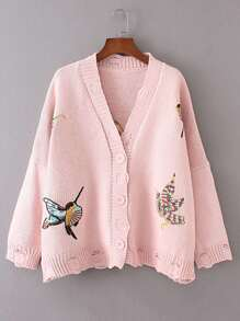 Bird Embroidery Ribbed Sweater Coat