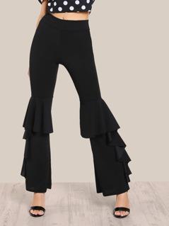 Ruffle Hem Pants BLACK