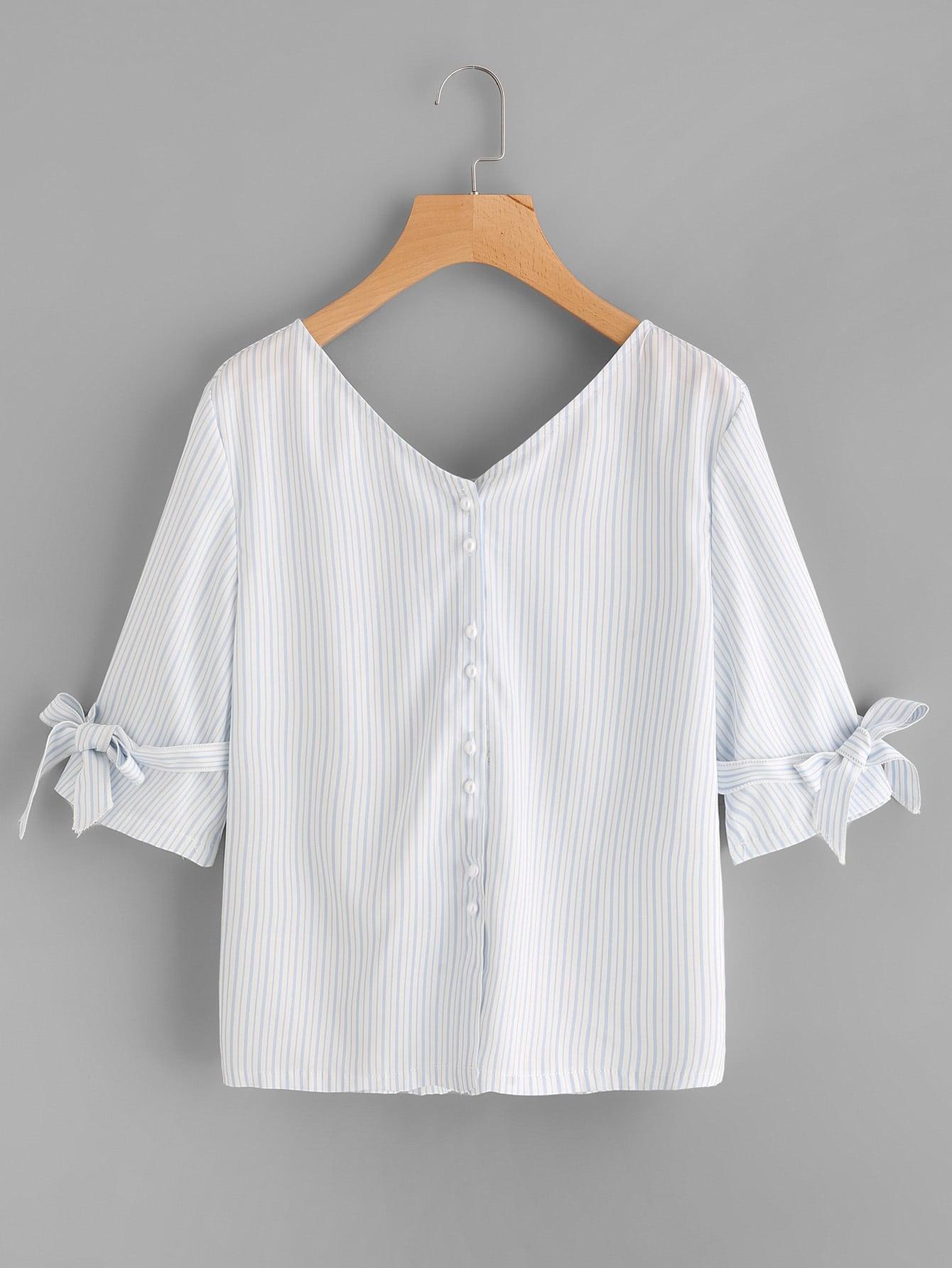 Double V-neckline Bow Tie Back Blouse bow sleeve v neckline blouse