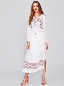Tie Neck Shirred Waist Side Slit Embroidered Dress