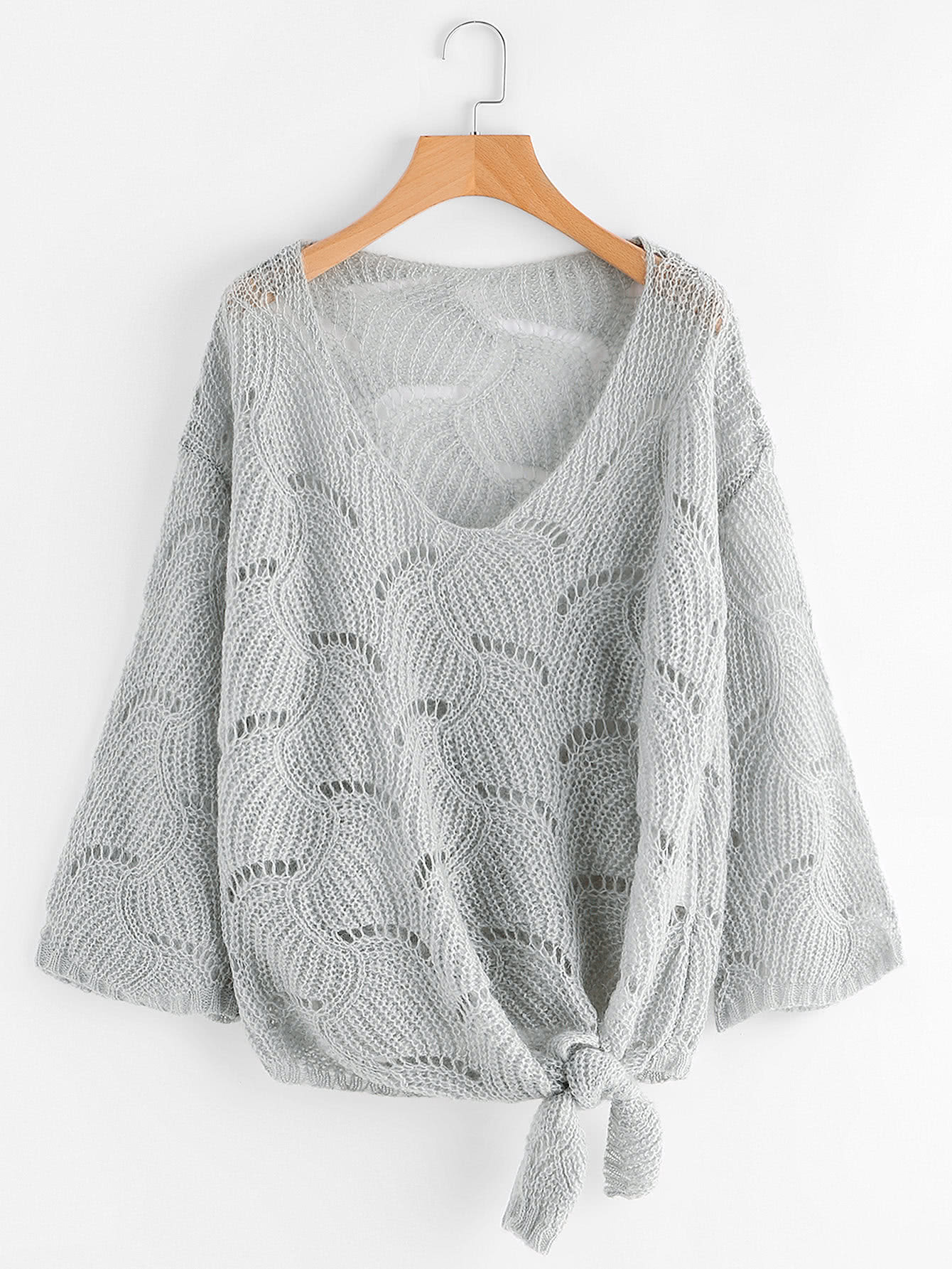 Self Tie Front Open-Knit Sweater open knit long sweater