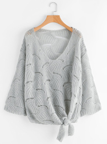 Self Tie Front Open-Knit Sweater