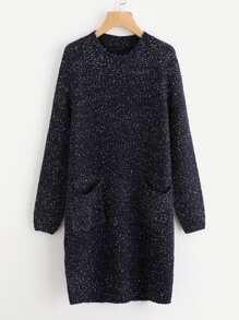 Dual Pocket Front Fleck Sweater Dress