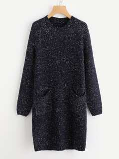 Dual Pocket Front Fleck Sweater Dress