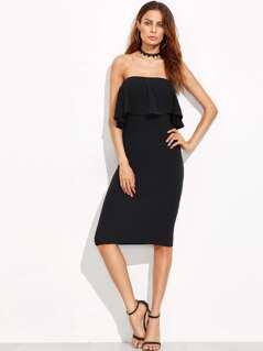 Flounce Bandeau Pencil Dress